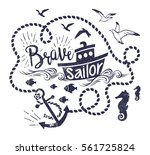 vector illustration of little... | Shutterstock .eps vector #561725824