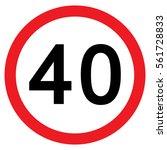 40mph speed limit sign  vector  ... | Shutterstock .eps vector #561728833