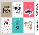valentine day cards. set of... | Shutterstock .eps vector #561731854