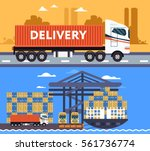 cool delivery service concept... | Shutterstock .eps vector #561736774