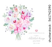 purple and pink flowers bouquet ... | Shutterstock .eps vector #561742390