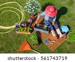 woman sitting on the lawn ... | Shutterstock . vector #561743719