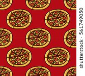 trendy pizza pattern with hand...   Shutterstock .eps vector #561749050