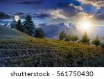 Composite summer landscape with spruce forest on grassy hillside in High Tatra Mountains - stock photo