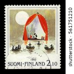 "Small photo of FINLAND - CIRCA 1992: a stamp printed in Finland shows illustration to children's picture book ""The Dangerous Journey"" in the Moomin series by Tove Jansson, philatelic exhibition NORDIA 93, circa 1992"