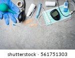 medical equipment on gray stone ...   Shutterstock . vector #561751303