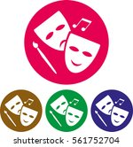 theater mask playhouse icon | Shutterstock .eps vector #561752704
