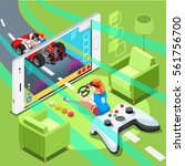 video game screen and gamer... | Shutterstock .eps vector #561756700