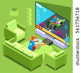 video game screen and gamer... | Shutterstock .eps vector #561756718