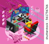 video game screen and gamer... | Shutterstock .eps vector #561756766