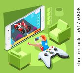 video game screen and gamer... | Shutterstock .eps vector #561756808