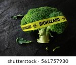 yellow biohazard tape on a... | Shutterstock . vector #561757930