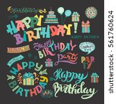 set of happy birthday hand... | Shutterstock .eps vector #561760624