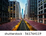 Blue Hour Over The El Tracks - stock photo