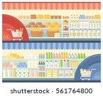 supermarket shelves with bakery ... | Shutterstock .eps vector #561764800