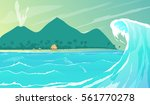 view to sea wave and island... | Shutterstock .eps vector #561770278