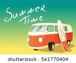 retro bus with surfboard ... | Shutterstock .eps vector #561770404