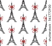 eiffel tower seamless pattern... | Shutterstock .eps vector #561772930