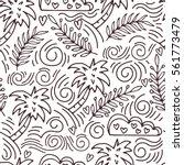 tropics. palm trees seamless... | Shutterstock .eps vector #561773479