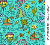cartoon hand drawn doodles on a ... | Shutterstock .eps vector #561773524