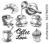 coffee and desserts vector set... | Shutterstock .eps vector #561786553