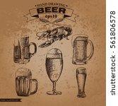 graphic hand drawn beer set...   Shutterstock .eps vector #561806578