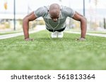 fitness black man exercising...   Shutterstock . vector #561813364