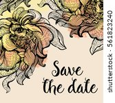 card  save the date with... | Shutterstock .eps vector #561823240