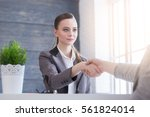 young woman arriving for a job... | Shutterstock . vector #561824014