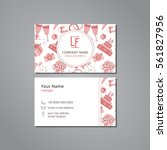 vector visit card with wedding... | Shutterstock .eps vector #561827956