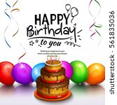 birthday card. party... | Shutterstock .eps vector #561835036