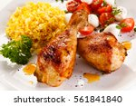 roasted chicken drumsticks...   Shutterstock . vector #561841840