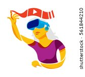 abstract virtual reality woman... | Shutterstock .eps vector #561844210