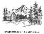 house in mountain landscape... | Shutterstock .eps vector #561848113