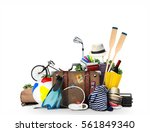 travel and tourism a large pile ... | Shutterstock . vector #561849340