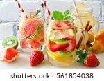 assortment of detox water with... | Shutterstock . vector #561854038