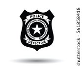 Police Badge Icon. White...