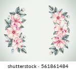 vintage garland of blooming... | Shutterstock . vector #561861484