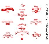 happy valentines day lettering   | Shutterstock .eps vector #561861610