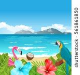 illustration exotic wallpaper... | Shutterstock .eps vector #561861850