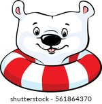 polar bear swim in inflatable... | Shutterstock .eps vector #561864370