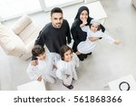 high angle view portrait of... | Shutterstock . vector #561868366