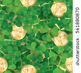 seamless pattern  clovers and... | Shutterstock .eps vector #561880870