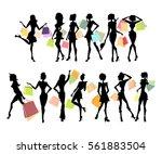 shopping sillhouettes set.... | Shutterstock . vector #561883504