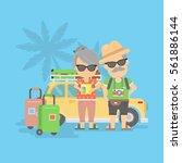 isolated retired couple on... | Shutterstock .eps vector #561886144