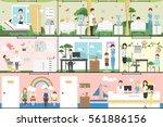 children in hospital set.... | Shutterstock .eps vector #561886156