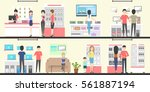 electronics store interior set. ... | Shutterstock .eps vector #561887194