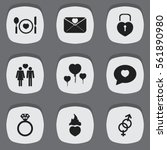 set of 9 love icons. includes...