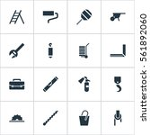 set of 16 equipment icons.... | Shutterstock . vector #561892060