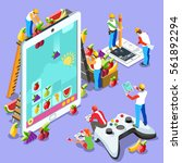 isometric video game ux... | Shutterstock .eps vector #561892294